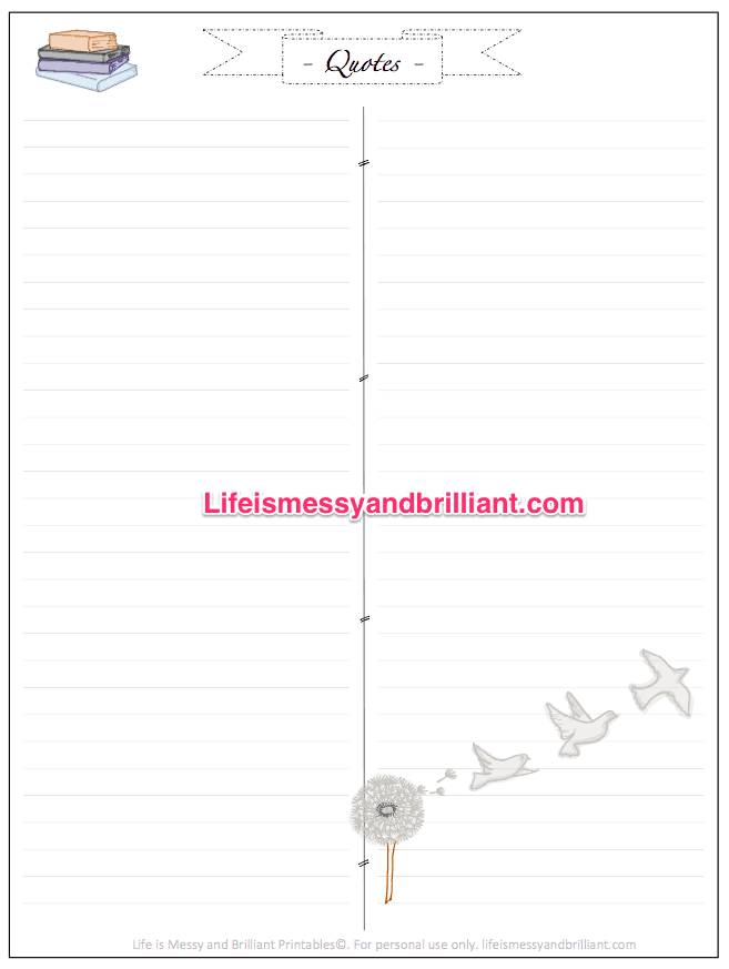 Free Bullet Journal Printable Quotes Tracker