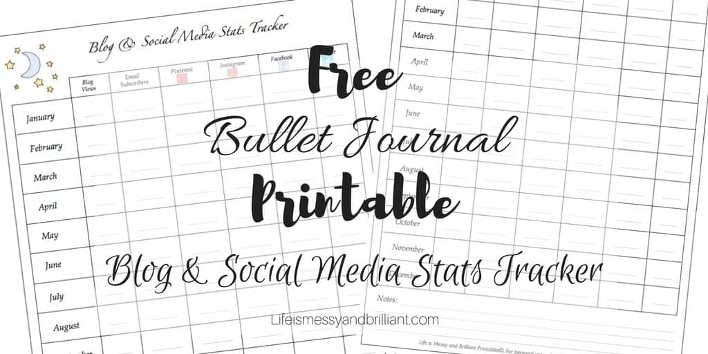 FREE Bullet Journal Printable Blog and Social Media Stats ...