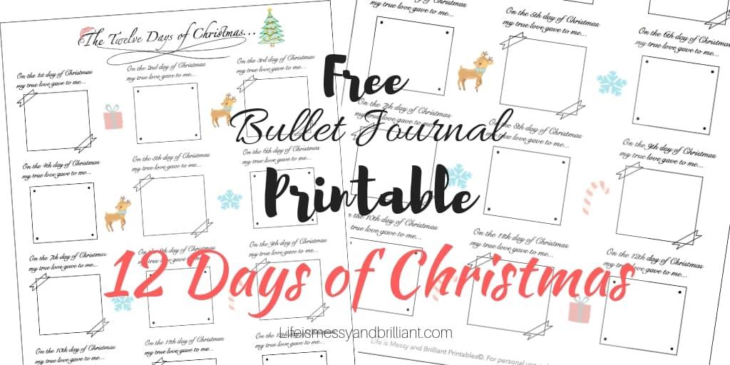 free bullet journal printable 12 days of christmas