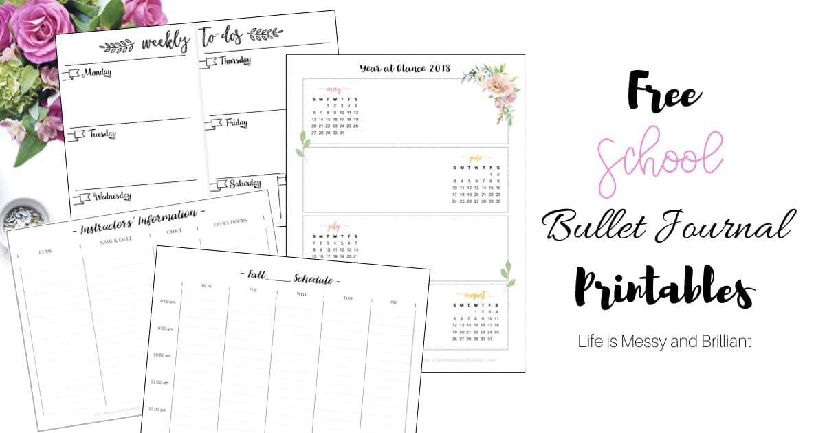 FREE School Bullet Journal Printables