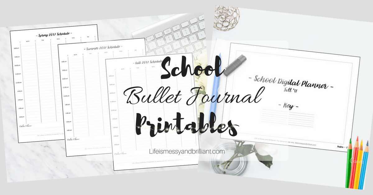 free school bullet journal printables