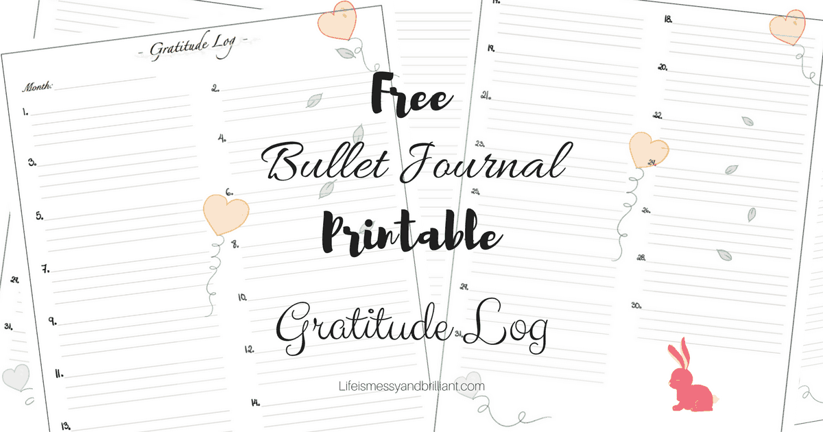 free gratitude log bullet journal printable