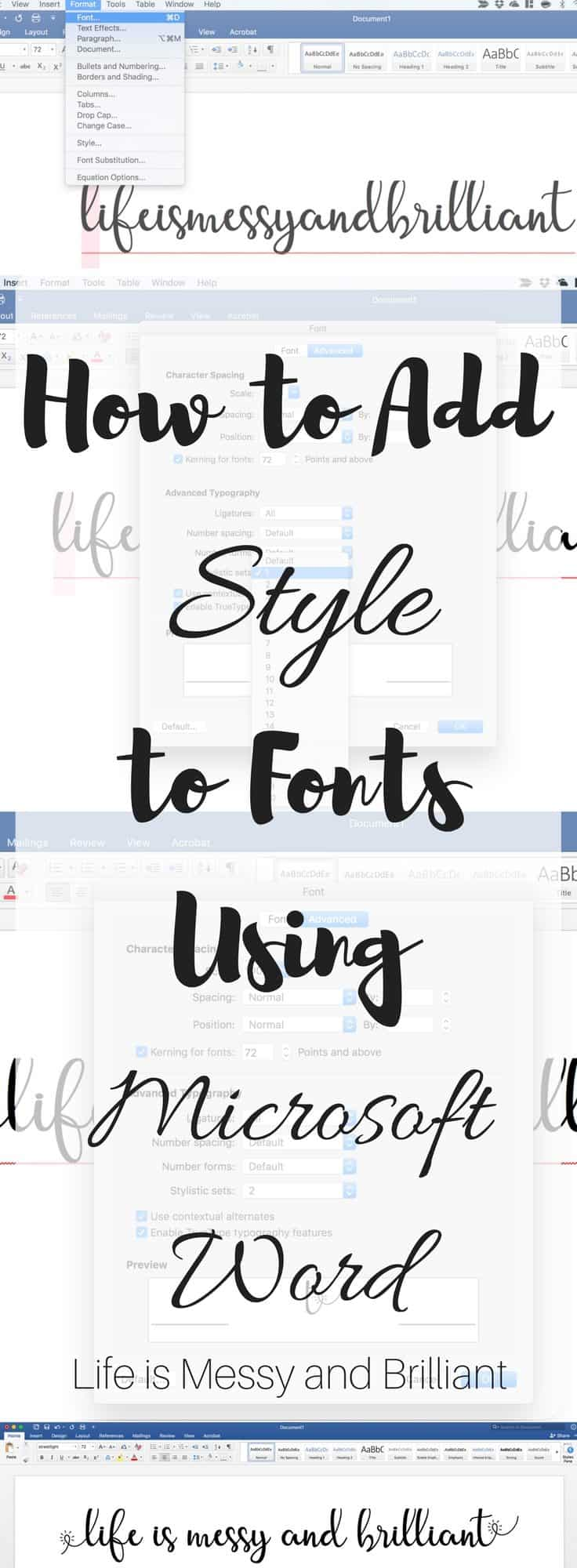 Blog life is messy and brilliant Word font styles