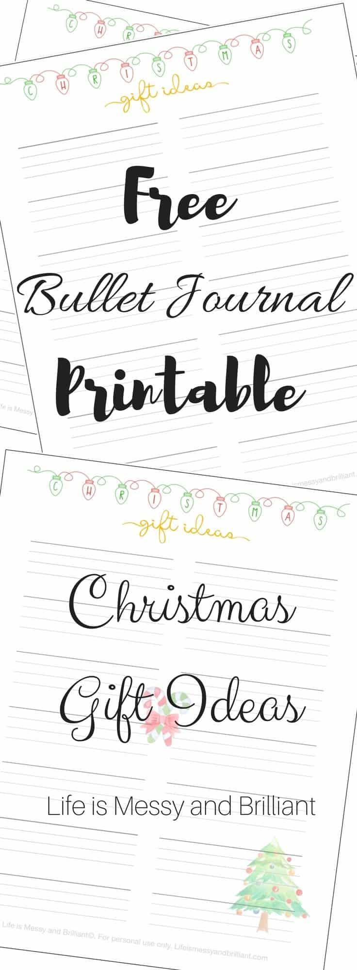 Free Christmas Gift Ideas Bullet Journal Printable