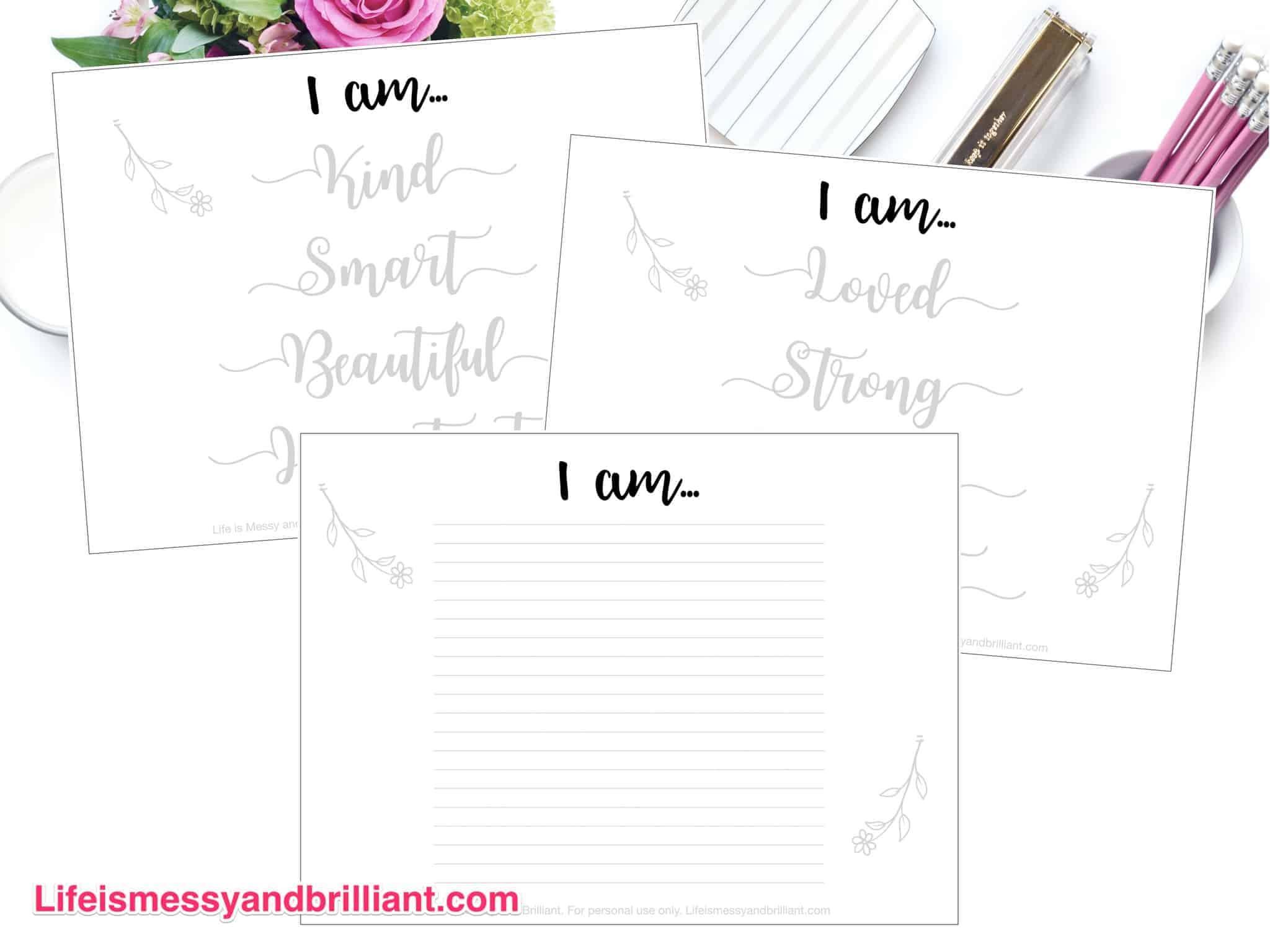 FREE I am Hand Lettering Practice Worksheets