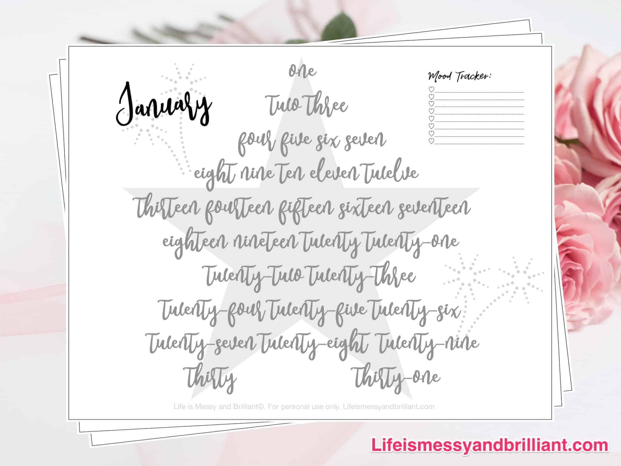 FREE January Mood Tracker Printable