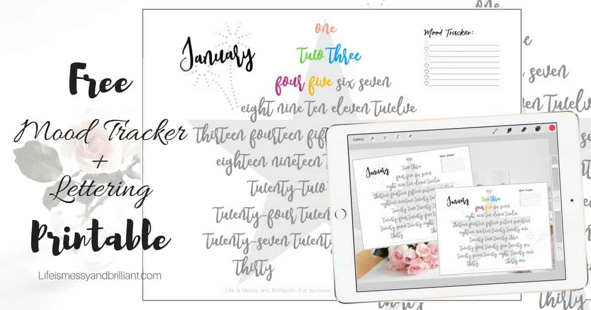 FREE January Mood Tracker and Lettering Printable