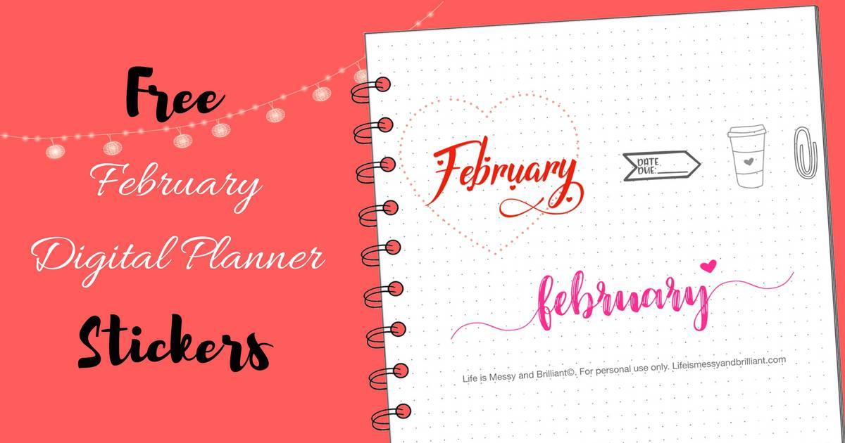 free february digital planner stickers