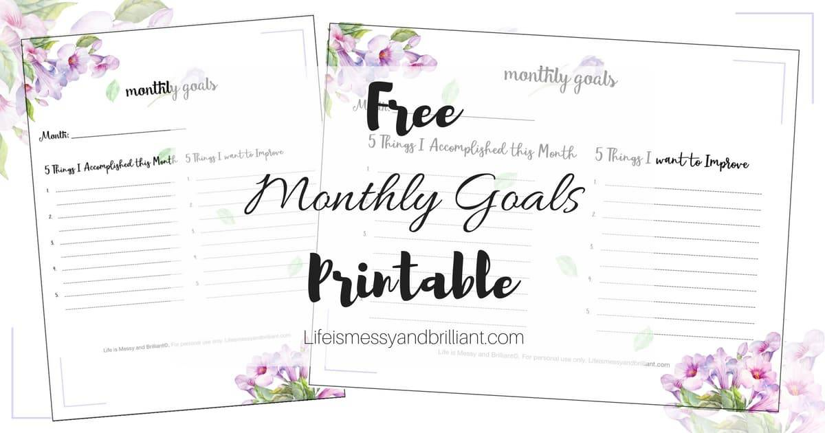 Free Monthly Goals Bullet Journal Printable