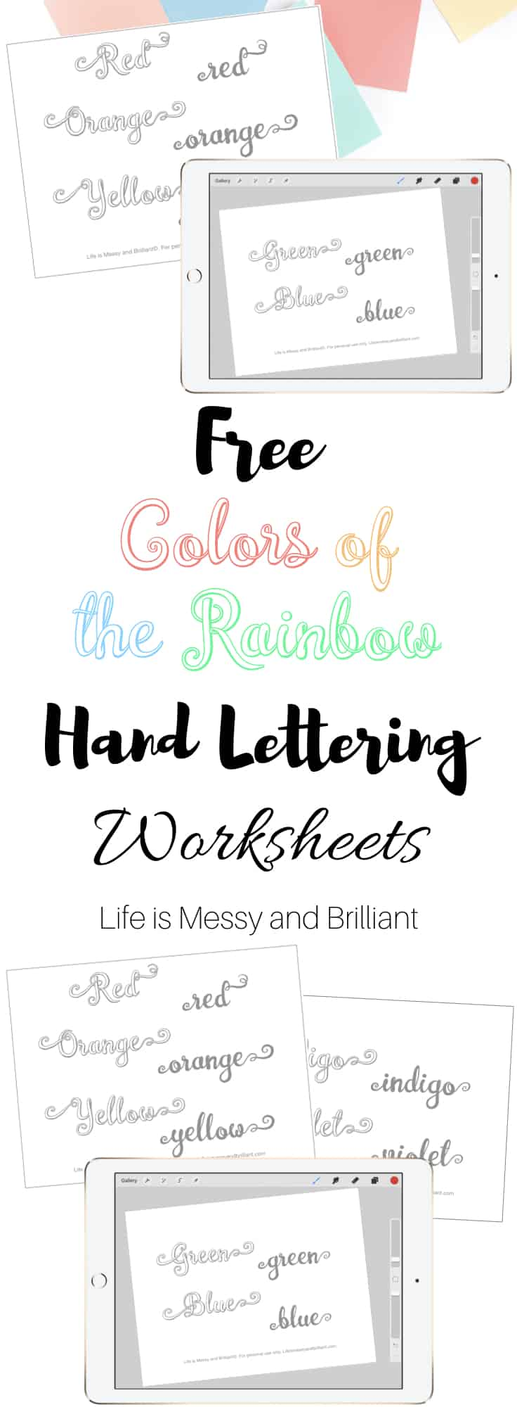 free colors of the rainbow hand lettering practice worksheets. Black Bedroom Furniture Sets. Home Design Ideas