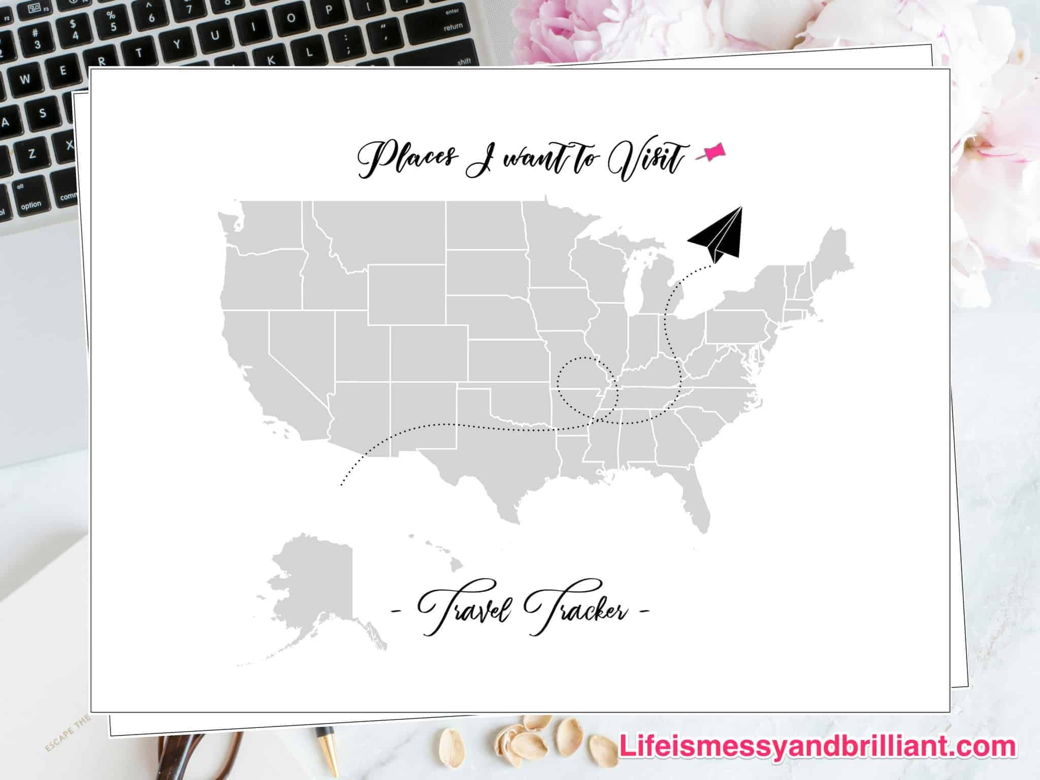 FREE Travel Tracker Printable - Us map travel tracker
