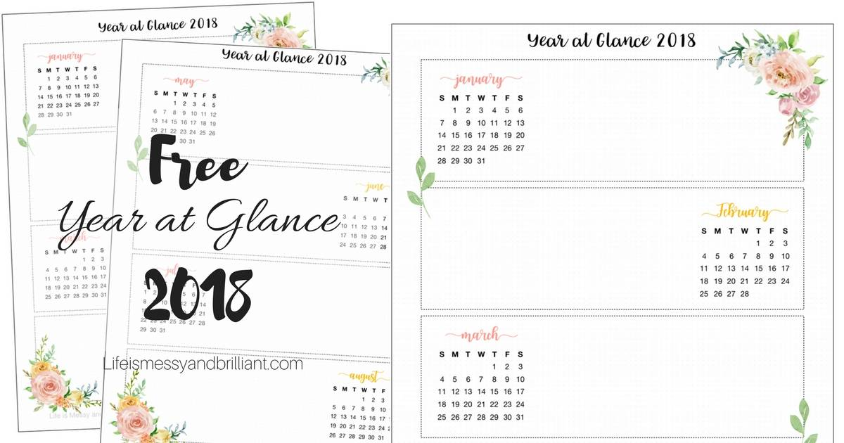 free year at glance 2018 bullet journal printable