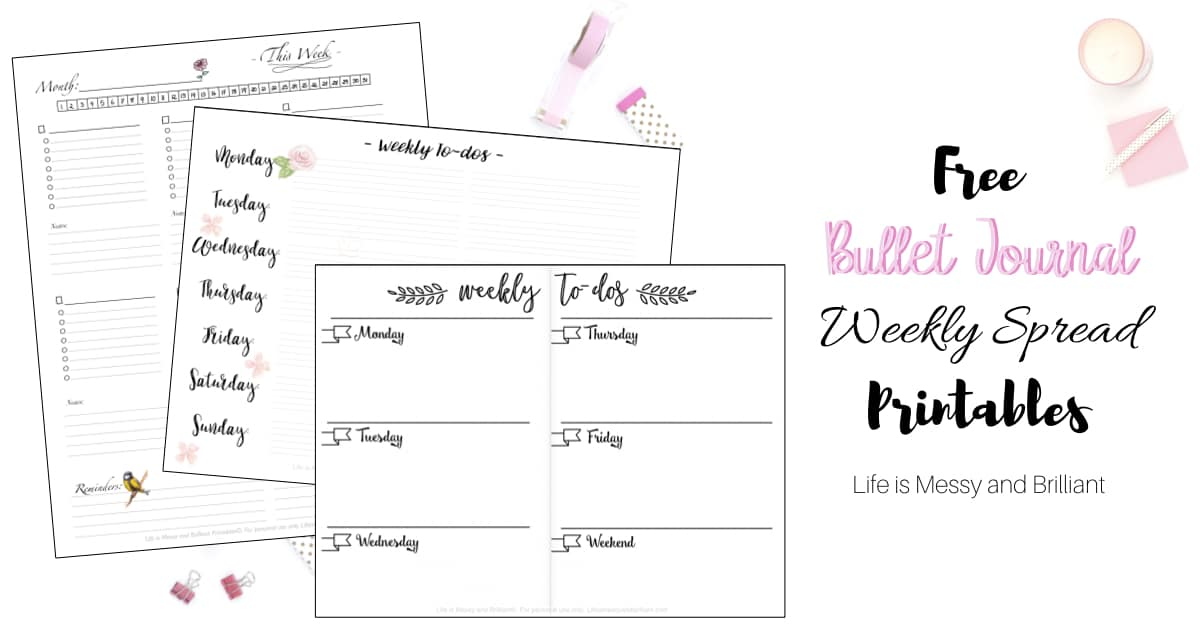 graphic about Bullet Journal Weekly Spread Printable known as Free of charge Bullet Magazine Weekly Unfold Printables
