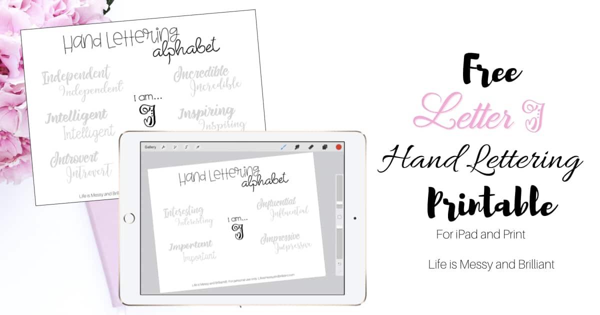 FREE Letter I Hand Lettering Alphabet Practice Worksheet